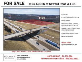 Property for sale at 0 Seward & I-35 SW Corner, Guthrie,  Oklahoma 73044